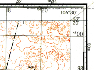 Reduced fragment of topographic map ru--gs--100k--k48-033--N043-20_E106-00--N043-00_E106-30