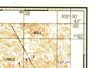 Reduced fragment of topographic map ru--gs--100k--k48-043--N043-00_E105-00--N042-40_E105-30; towns and cities Nomgom