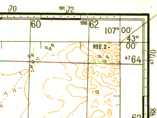 Reduced fragment of topographic map ru--gs--100k--k48-046--N043-00_E106-30--N042-40_E107-00