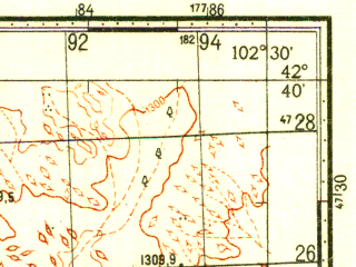 Reduced fragment of topographic map ru--gs--100k--k48-049--N042-40_E102-00--N042-20_E102-30