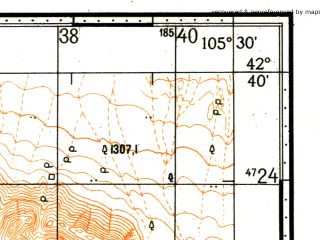 Reduced fragment of topographic map ru--gs--100k--k48-055--N042-40_E105-00--N042-20_E105-30
