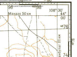 Reduced fragment of topographic map ru--gs--100k--k49-001--N044-00_E108-00--N043-40_E108-30
