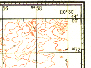 Reduced fragment of topographic map ru--gs--100k--k49-005--N044-00_E110-00--N043-40_E110-30