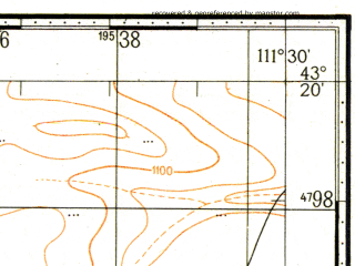 Reduced fragment of topographic map ru--gs--100k--k49-031--N043-20_E111-00--N043-00_E111-30