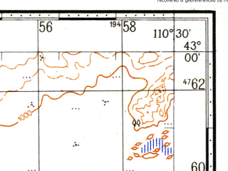 Reduced fragment of topographic map ru--gs--100k--k49-041--N043-00_E110-00--N042-40_E110-30