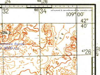 Reduced fragment of topographic map ru--gs--100k--k49-050--N042-40_E108-30--N042-20_E109-00