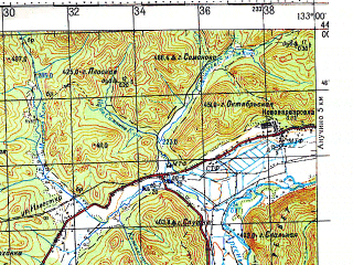 Reduced fragment of topographic map ru--gs--100k--k53-002--N044-00_E132-30--N043-40_E133-00; towns and cities Vinogradovka