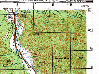 Reduced fragment of topographic map ru--gs--100k--k53-004--N044-00_E133-30--N043-40_E134-00; towns and cities Arkhipovka, Izvilinka