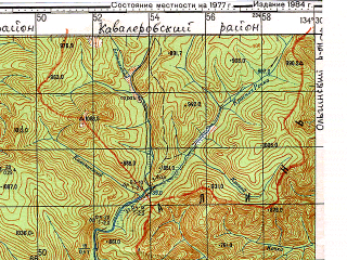 Reduced fragment of topographic map ru--gs--100k--k53-005--N044-00_E134-00--N043-40_E134-30