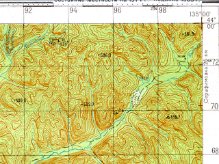 Reduced fragment of topographic map ru--gs--100k--k53-006--N044-00_E134-30--N043-40_E135-00; towns and cities Gornovodnoye, Mikhaylovka