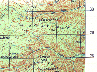Reduced fragment of topographic map ru--gs--100k--k53-014--N043-40_E132-30--N043-20_E133-00