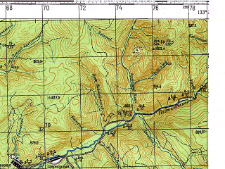Reduced fragment of topographic map ru--gs--100k--k53-015--N043-40_E133-00--N043-20_E133-30; towns and cities Molchanovka
