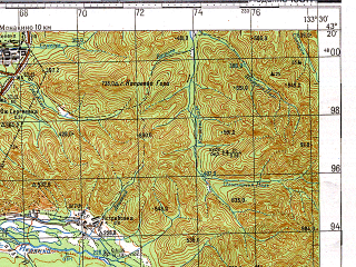 Reduced fragment of topographic map ru--gs--100k--k53-027--N043-20_E133-00--N043-00_E133-30; towns and cities Partizansk, Frolovka, Nikolayevka, Sergeyevka