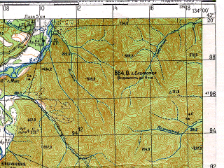 Reduced fragment of topographic map ru--gs--100k--k53-028--N043-20_E133-30--N043-00_E134-00; towns and cities Benevskoye