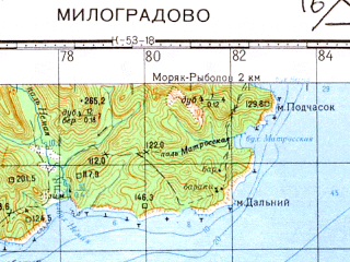 Reduced fragment of topographic map ru--gs--100k--k53-030--N043-20_E134-30--N043-00_E135-00; towns and cities Milogradovo