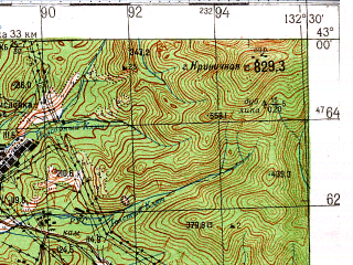 Reduced fragment of topographic map ru--gs--100k--k53-037--N043-00_E132-00--N042-40_E132-30; towns and cities Dunay, Putyatin