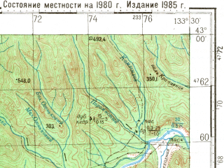 Reduced fragment of topographic map ru--gs--100k--k53-039--N043-00_E133-00--N042-40_E133-30; towns and cities Krakov, Zolotaya Dolina