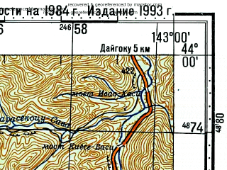 Reduced fragment of topographic map ru--gs--100k--k54-010--N044-00_E142-30--N043-40_E143-00; towns and cities Kamikawa