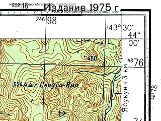 Reduced fragment of topographic map ru--gs--100k--k54-011--N044-00_E143-00--N043-40_E143-30; towns and cities Fujimi