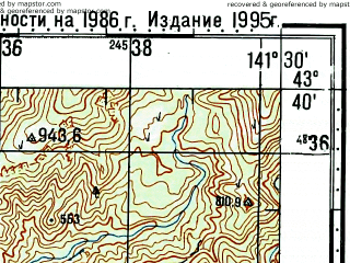 Reduced fragment of topographic map ru--gs--100k--k54-019--N043-40_E141-00--N043-20_E141-30; towns and cities Kawashimo
