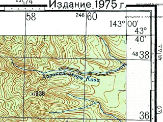 Reduced fragment of topographic map ru--gs--100k--k54-022--N043-40_E142-30--N043-20_E143-00; towns and cities Penkebetsu