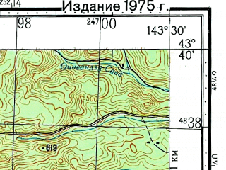Reduced fragment of topographic map ru--gs--100k--k54-023--N043-40_E143-00--N043-20_E143-30