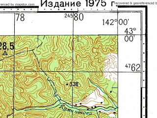 Reduced fragment of topographic map ru--gs--100k--k54-044--N043-00_E141-30--N042-40_E142-00