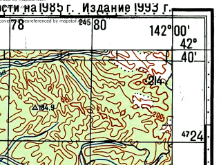 Reduced fragment of topographic map ru--gs--100k--k54-056--N042-40_E141-30--N042-20_E142-00