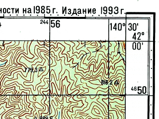 Reduced fragment of topographic map ru--gs--100k--k54-077--N042-00_E140-00--N041-40_E140-30; towns and cities Ogiishi, Yunotai