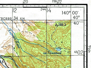 Reduced fragment of topographic map ru--gs--100k--k54-124--N040-40_E139-30--N040-20_E140-00; towns and cities Omagoshi