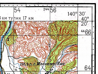 Reduced fragment of topographic map ru--gs--100k--k54-137--N040-20_E140-00--N040-00_E140-30; towns and cities Okitaomote, Yonaizawa, Hachimori