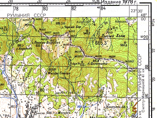 Reduced fragment of topographic map ru--gs--100k--l34-011--(1978)--N048-00_E023-00--N047-40_E023-30; towns and cities Negresti