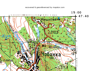 Reduced fragment of topographic map ru--gs--100k--l34-014--N047-40_E018-30--N047-20_E019-00; towns and cities Erd