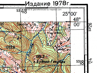 Reduced fragment of topographic map ru--gs--100k--l35-002--(1971)--N048-00_E024-30--N047-40_E025-00; towns and cities Grinyava