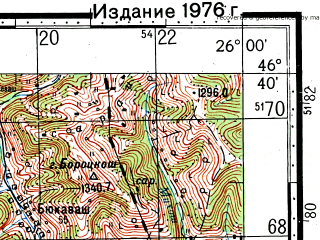 Reduced fragment of topographic map ru--gs--100k--l35-052--(1971)--N046-40_E025-30--N046-20_E026-00; towns and cities Miercurea Ciuc, Frumoasa