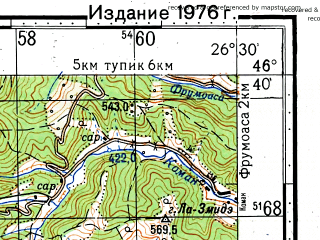 Reduced fragment of topographic map ru--gs--100k--l35-053--(1971)--N046-40_E026-00--N046-20_E026-30; towns and cities Comanesti
