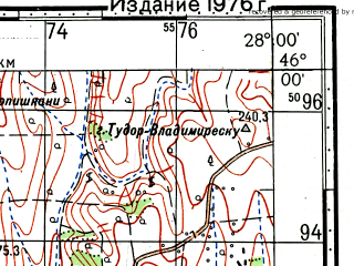 Reduced fragment of topographic map ru--gs--100k--l35-080--(1971)--N046-00_E027-30--N045-40_E028-00; towns and cities Cudalbi, Matca, Baleni