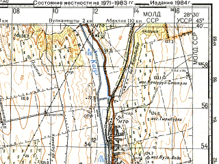 Reduced fragment of topographic map ru--gs--100k--l35-093--(1983)--N045-40_E028-00--N045-20_E028-30; towns and cities Galati, Reni, Chishmikioy, Dolinskoye, Limanskoye