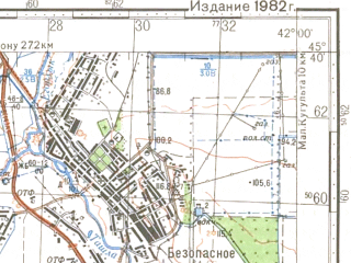 Reduced fragment of topographic map ru--gs--100k--l37-096--N045-40_E041-30--N045-20_E042-00; towns and cities Izobil'nyy, Bezopasnoye, Donskoye, Novotroitskoye