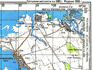 Reduced fragment of topographic map ru--gs--100k--l37-115--N045-00_E039-00--N044-40_E039-30; towns and cities Bakinskaya, Pchegatlukay, Ponezhukay