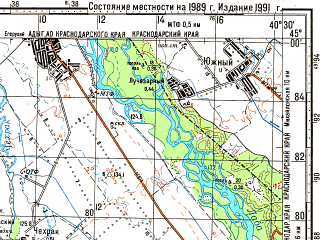 Reduced fragment of topographic map ru--gs--100k--l37-117--N045-00_E040-00--N044-40_E040-30; towns and cities Yegerukhay