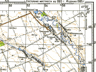 Reduced fragment of topographic map ru--gs--100k--l37-130--N044-40_E040-30--N044-20_E041-00; towns and cities Labinsk, Mostovskoy, Vladimirskaya