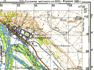 Reduced fragment of topographic map ru--gs--100k--l37-142--N044-20_E040-30--N044-00_E041-00; towns and cities Psebay, Bagovskaya, Gubskaya, Kaladzhinskaya