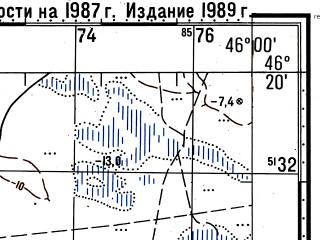 Reduced fragment of topographic map ru--gs--100k--l38-068--(1987)--N046-20_E045-30--N046-00_E046-00; towns and cities Tavn Gashun