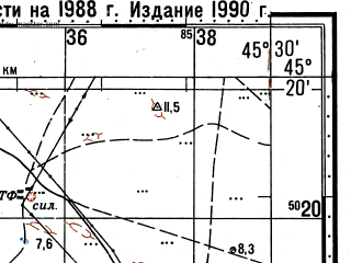 Reduced fragment of topographic map ru--gs--100k--l38-103--(1988)--N045-20_E045-00--N045-00_E045-30; towns and cities Arbali, Plavnenskiy