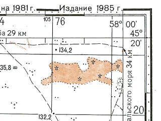 Reduced fragment of topographic map ru--gs--100k--l40-104--N045-20_E057-30--N045-00_E058-00