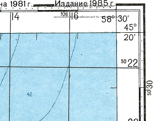 Reduced fragment of topographic map ru--gs--100k--l40-105--N045-20_E058-00--N045-00_E058-30