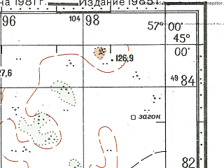 Reduced fragment of topographic map ru--gs--100k--l40-114--N045-00_E056-30--N044-40_E057-00