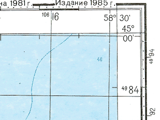 Reduced fragment of topographic map ru--gs--100k--l40-117--N045-00_E058-00--N044-40_E058-30