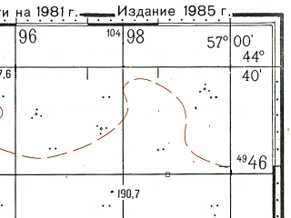 Reduced fragment of topographic map ru--gs--100k--l40-126--N044-40_E056-30--N044-20_E057-00; towns and cities Beleuli